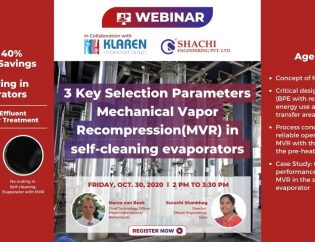3 Key Selection Parameters for Mechanical Vapor Recompression(MVR) in self-cleaning evaporators - Shachi Engineering